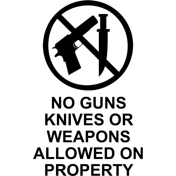 """No Guns Or Knives Die Cut Vinyl Decal   6"""" x 4"""""""