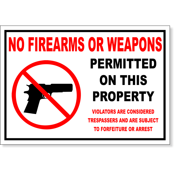 """No Firearms Permitted Decal 