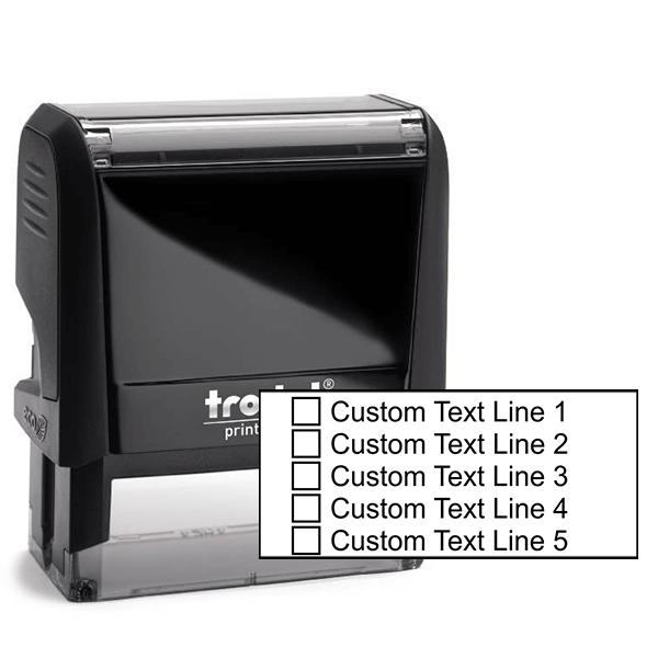 5 Line Checkbox Custom Rubber Stamp