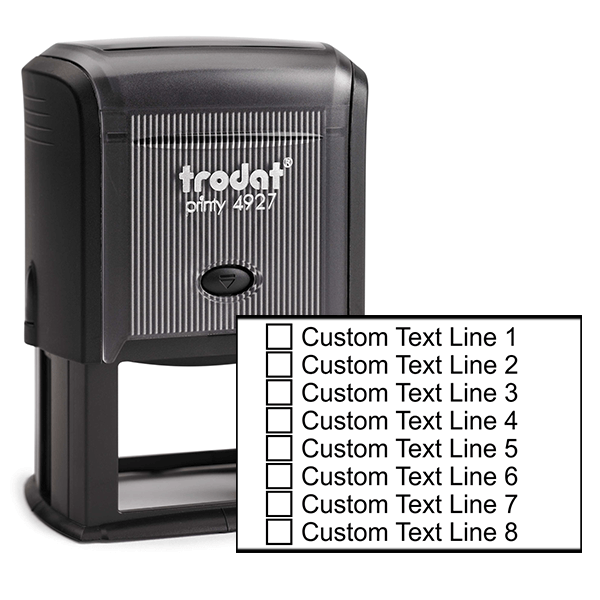 8 Line Checkbox Custom Rubber Stamp