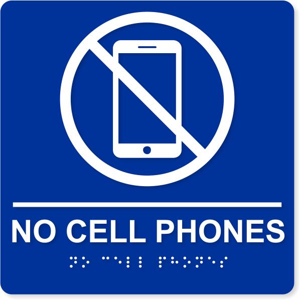 """No Cell Phones ADA Sign   8"""" x 8"""""""
