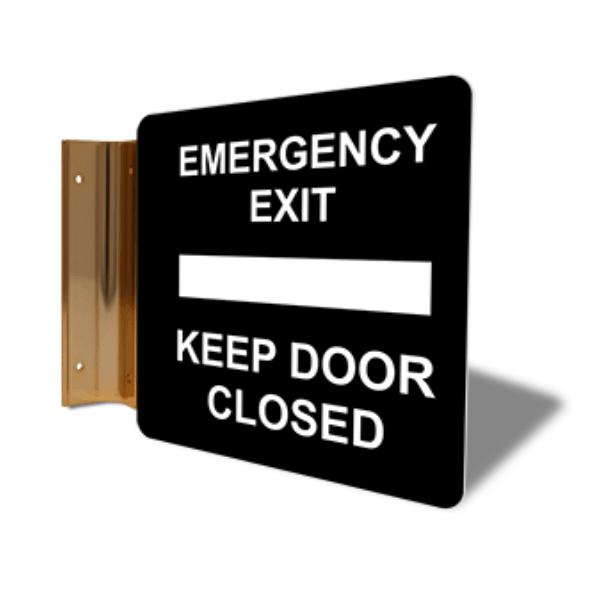 """Emergency Exit Keep Door Closed Corridor Sign   6"""" x 6"""""""
