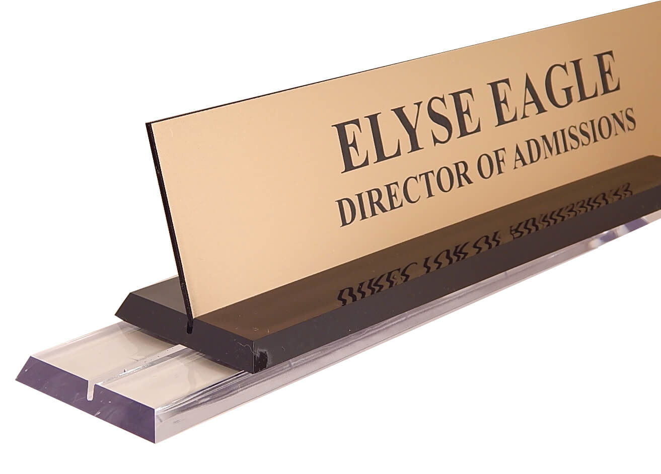 2in x 10in - Engraved Nameplate in Clear Acrylic Desk Base