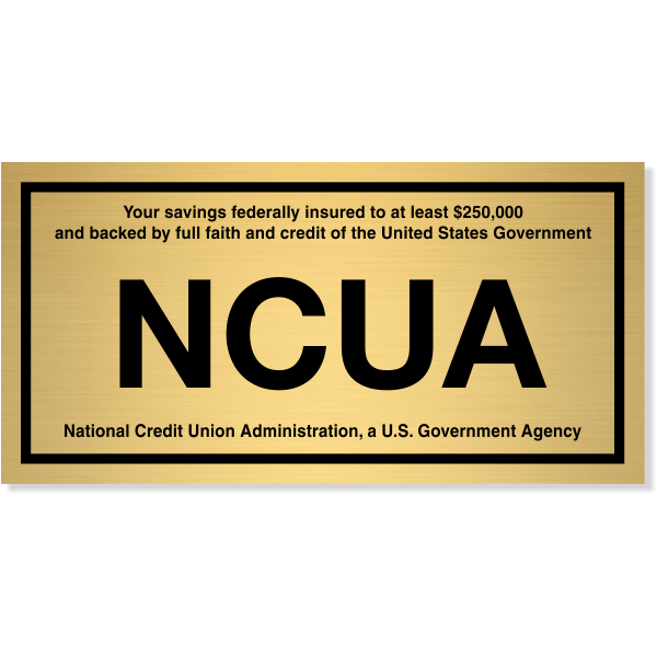 "NCUA Engraved Brass Wall Plate | 4"" x 8"""