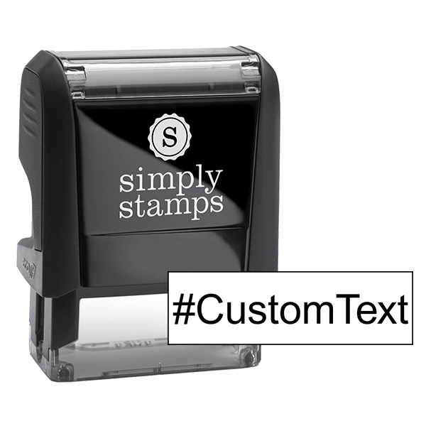 Custom Text Sans Serif Hashtag Rubber Stamp Body and Design