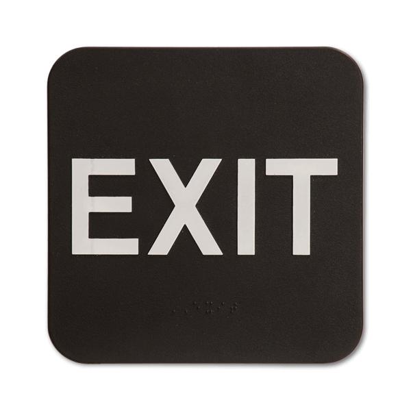 Black Exit ADA Braille Sign