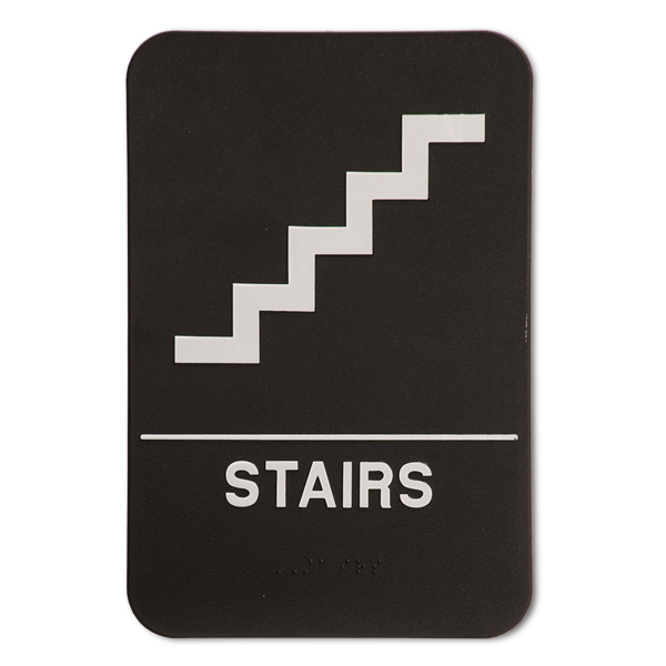Black Stairs ADA Braille Sign | 9