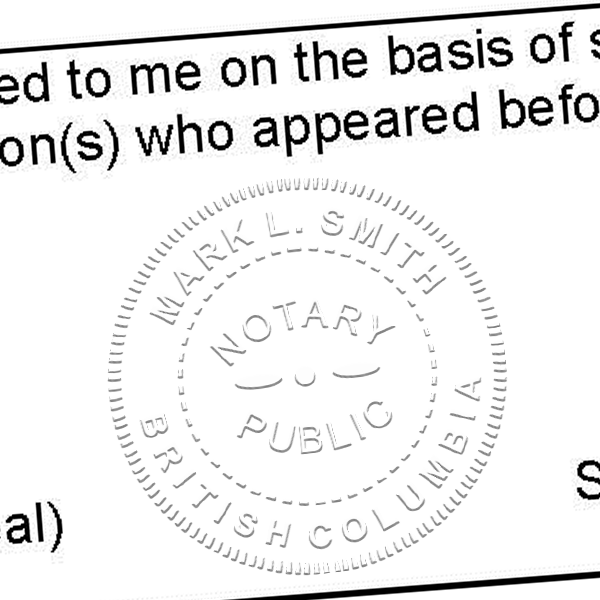 Notary for British Columbia Seal Stamp Imprint