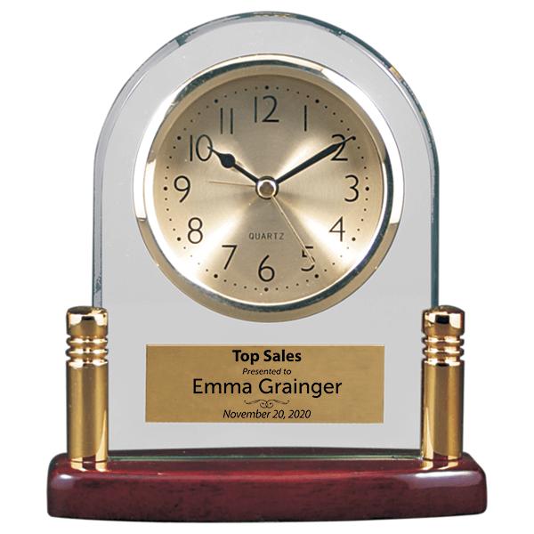 Sales Goal Glass and Piano Finish Desktop Award Clock