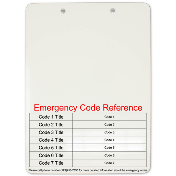 Emergency Code Reference Clipboard Back