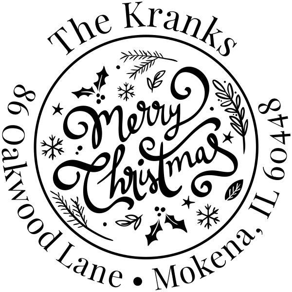 Merry Christmas Script Round Address Stamp