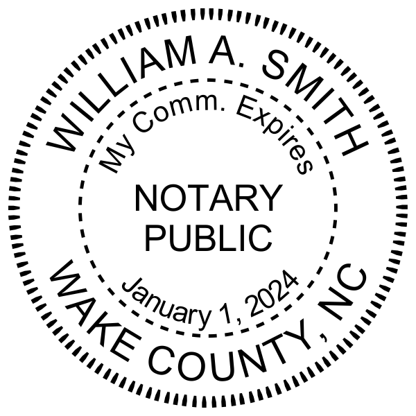North Carolina With Expiration Date Notary Pink Stamp - Round