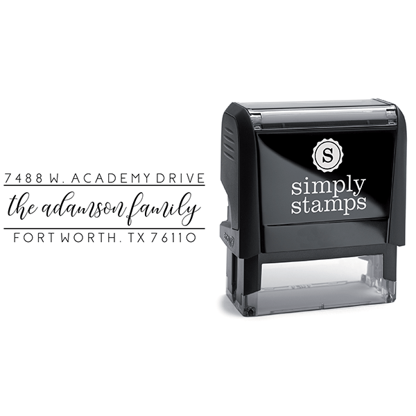 Adamson Dainty Script Address Stamp Body and Design