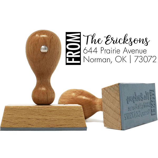 Color Block Family Of European Wood Handle Address Stamp Body and Design