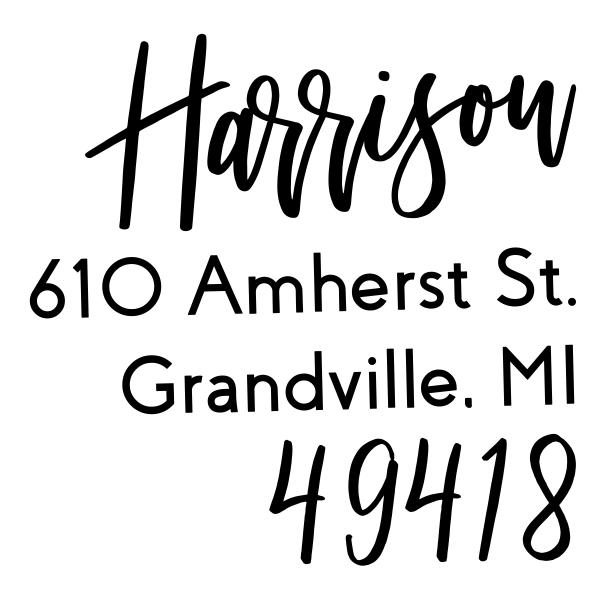 Harrison Hand Lettered European Wood Handle Address Stamp