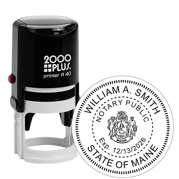 Maine Notary with Crest Round Stamp