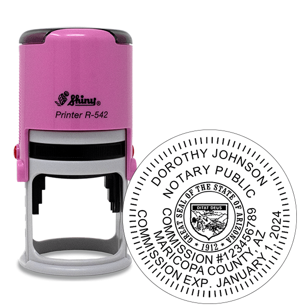 Arizona Notary Pink Stamp - Round