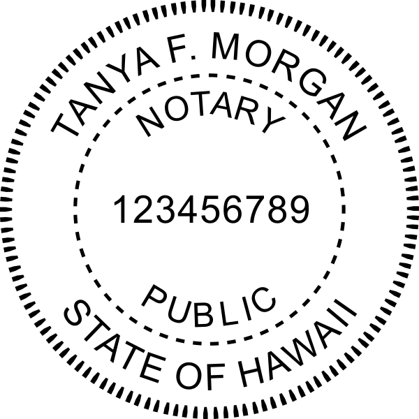 Hawaii Notary Pink Stamp - Round