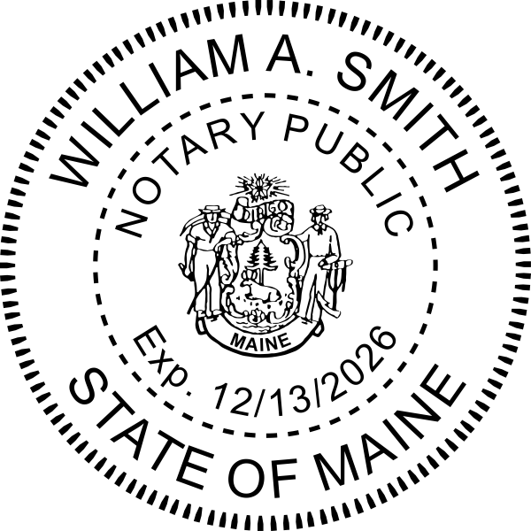 Maine Notary with Crest Round Seal Embosser