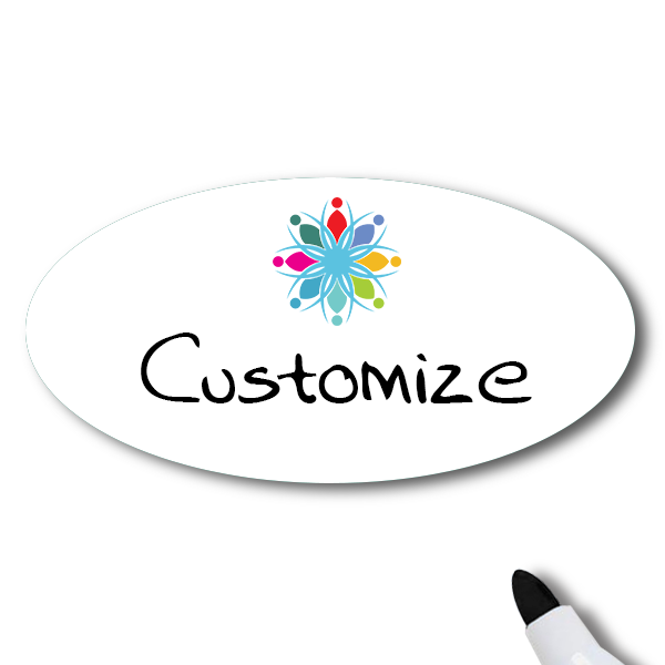 Magnetic Oval Dry Erase Reusable Name Tag