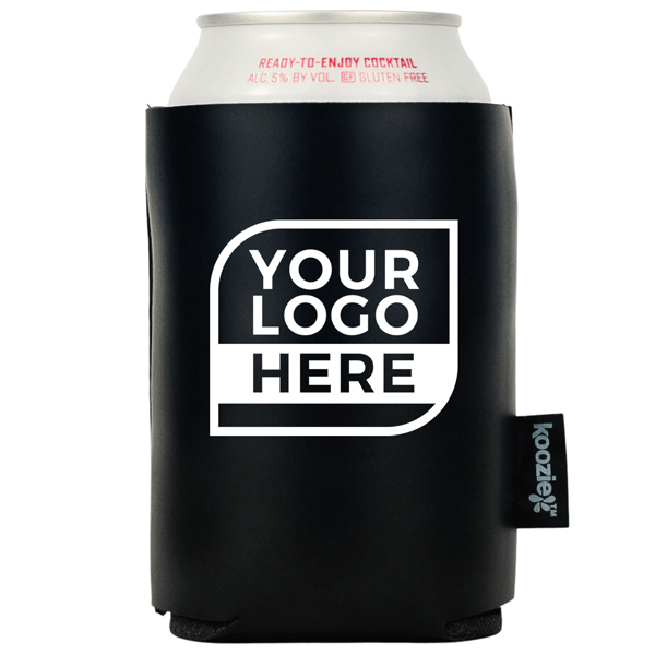 One Color Logo Koozie® Vegan 2-sided Leather Can Cooler