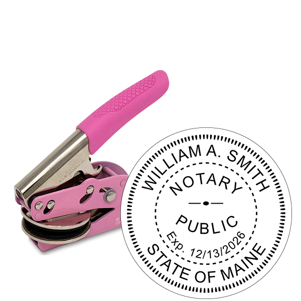 Maine Notary Pink Seal Embosser - Round