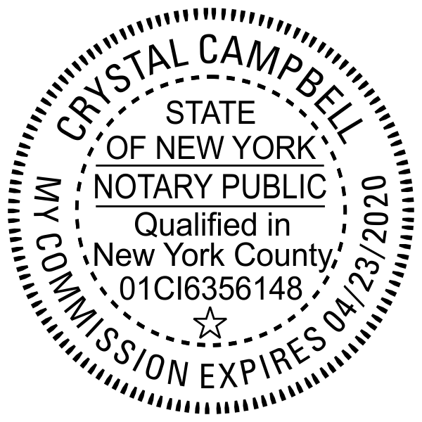 New York Notary with County and Expiration Pink Seal Embosser - Round