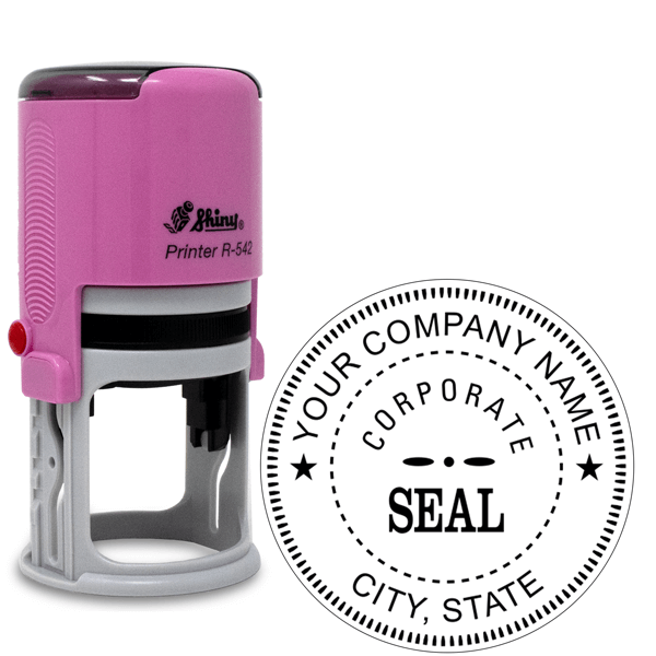 Pink Bodied Corporate Seal Stamp