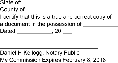 Notary Copy Certification Stamp