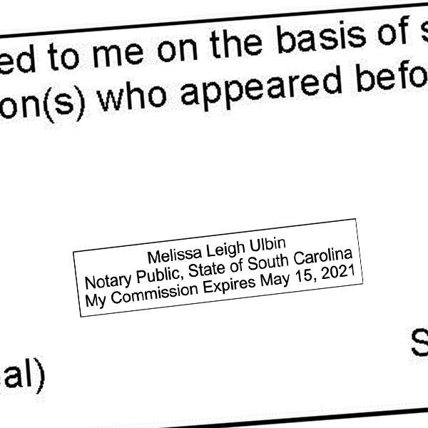 South Carolina Notary Rectangle Imprint
