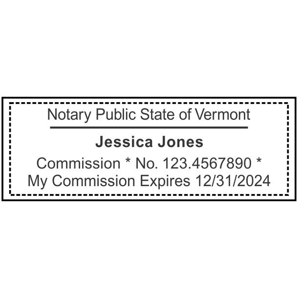 Vermont Notary Rectangular Stamp Seal Imprint