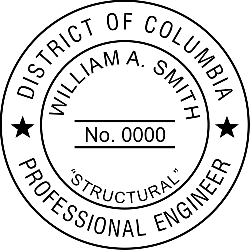 District of Columbia Engineer with Discipline Stamp Seal