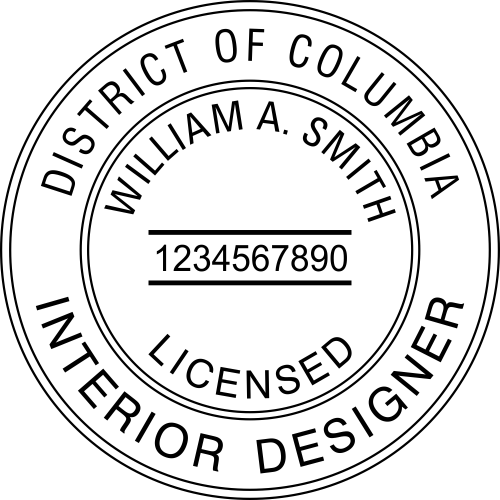 District of Columbia Interior Designer Stamp Seal