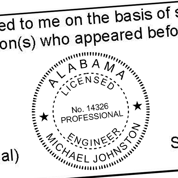 State of Alabama Engineer Seal Imprint