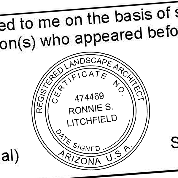 State of Arizona Landscape Architect Seal Imprint