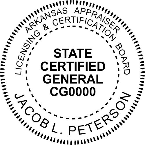 Arkansas Appraiser State Certified General Stamp Seal