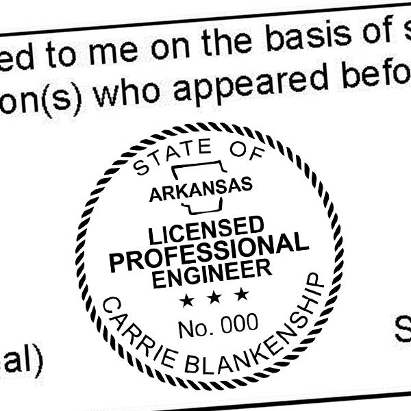 State of Arkansas Engineer Seal Imprint