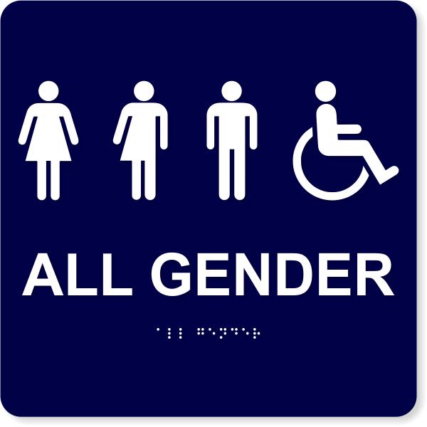 "All Gender Handicapped Sign - ADA Compliant 10"" x 10"""