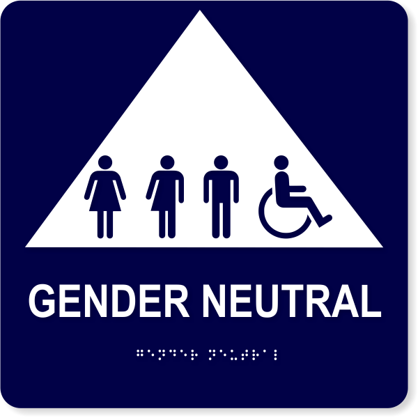 "All Gender Triangle Handicapped Sign | 10"" x 10"""