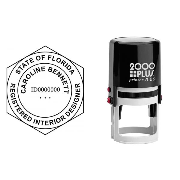 State of Florida Interior Designer Seal Body and Imprint