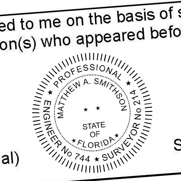 State of Florida Land Surveyor & Engineer Seal Imprint