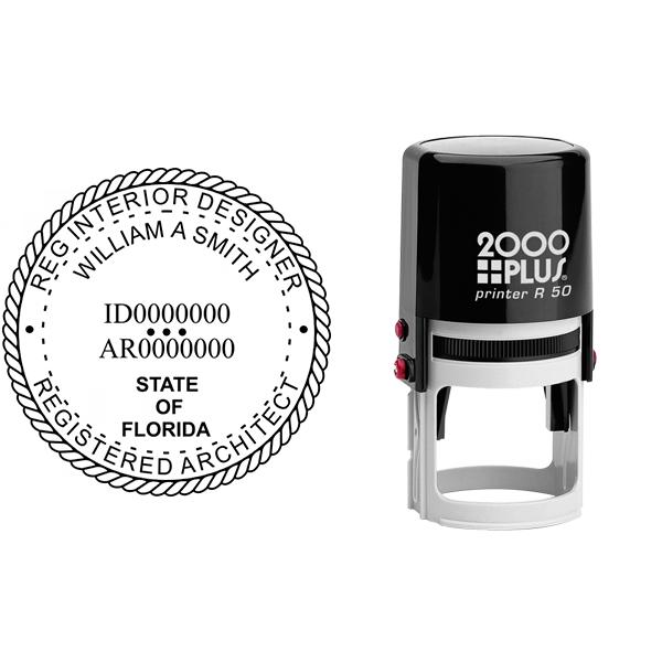 State of Florida Registered Interior Designer & Registered Architect Seal Body and Imprint