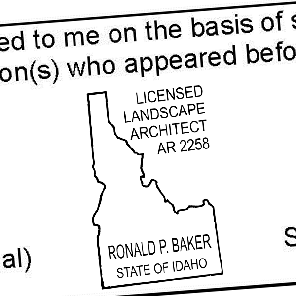 State of Idaho Landscape Architect Seal Imprint