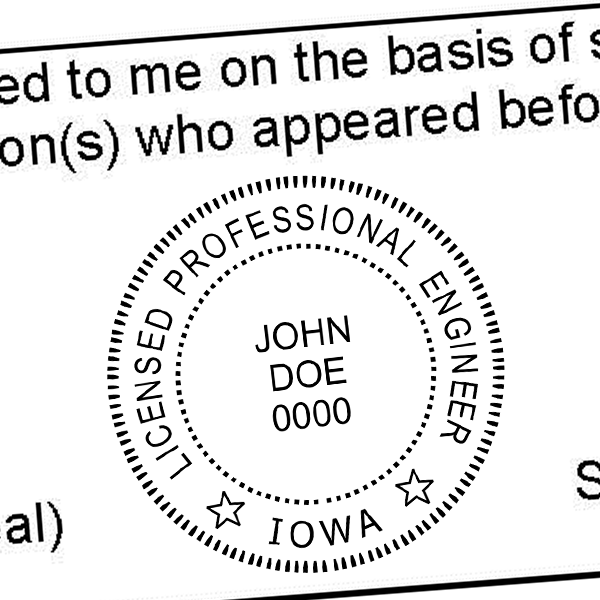 State of Iowa Engineer Seal Stamp Seal Imprint