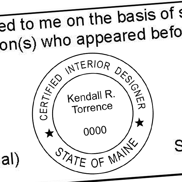 State of Maine Interior Designer Stamp Seal Imprint