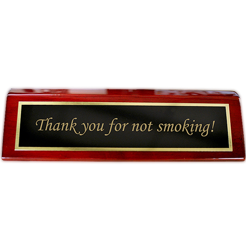"""Rosewood Desk Plate Thank you for not smoking - 2"""" x 8"""" Black Brass"""