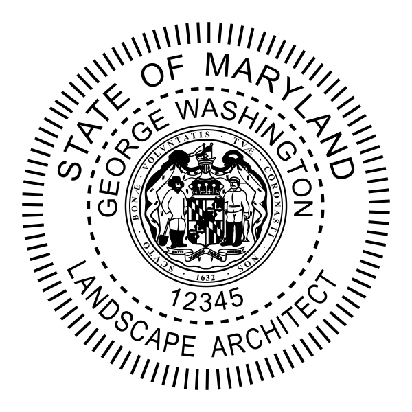 State of Maryland Landscape Architect Seal Body and Imprint