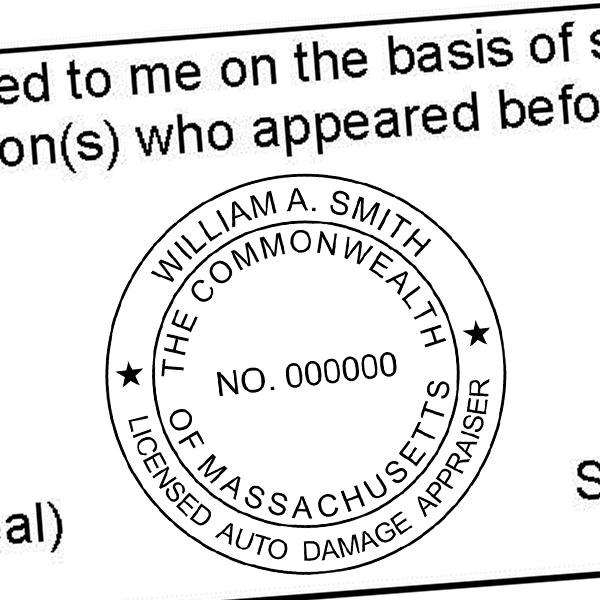 State of Massachusetts Auto Appraiser Seal Imprint