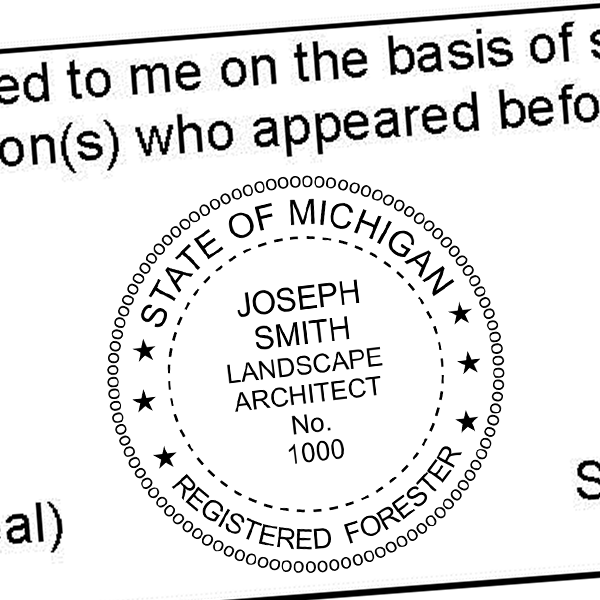 State of Michigan Forester Seal Imprint