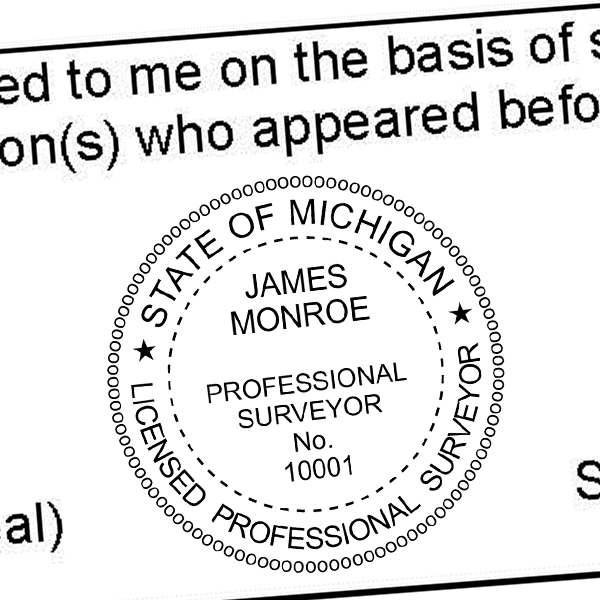 State of Michigan Surveyor Seal Imprint